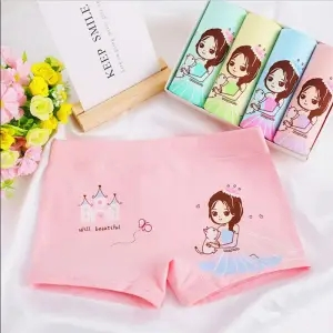 4/pcs Girls cotton underwear children girls small middle-aged children baby boxer shorts boxers 2-10 years