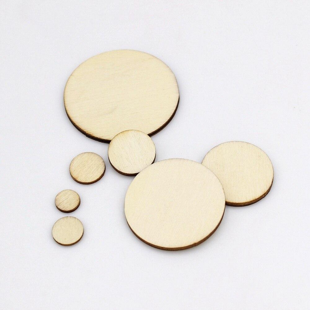 15/100 pces 10-50mm forma redonda natural chip de madeira inacabado microplaquetas de madeira diy artesanato de madeira casamento decoração para casa suprimentos
