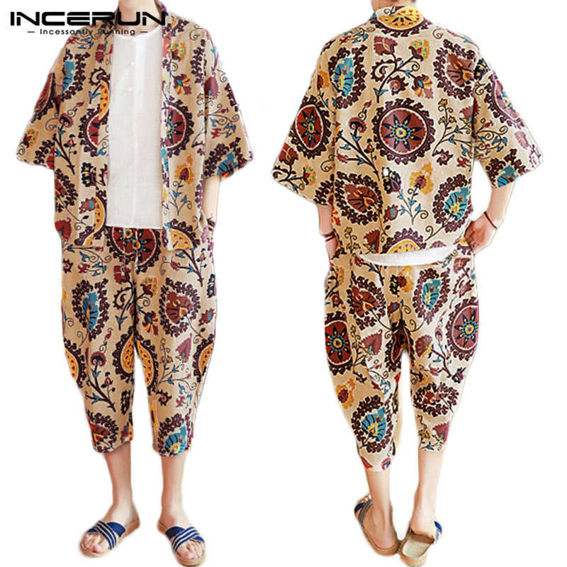 INCERUN Men Sets Ethnic Style Printed Cotton Streetwear 2019 Retro Half Sleeve Tops Outerwear Casual Pants Men 2 Pieces Sets 7