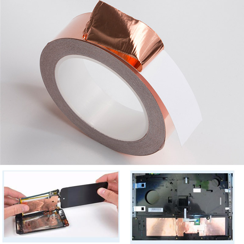 10 Meters Foil Tape Single Side Conductive Copper Foil Tape Strip Adhesive EMI Shielding Heat Resist Tape  For Soldering