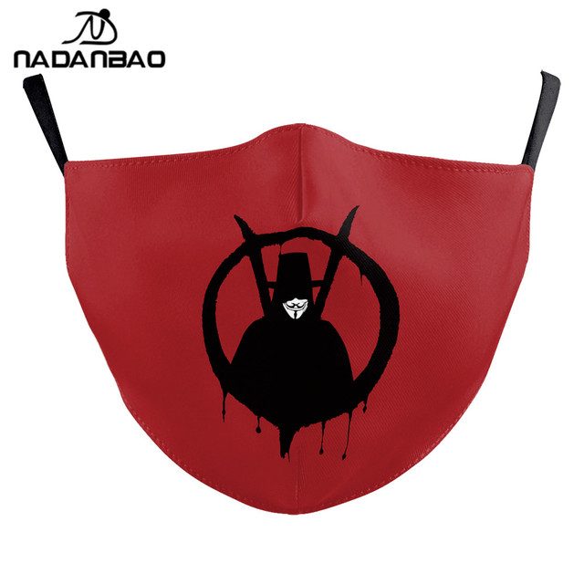 NADANBAO V For Vendetta Print Masks Adult Kids Face Fabric Mask Washable Reusable Mask Fashion Outdoor 1