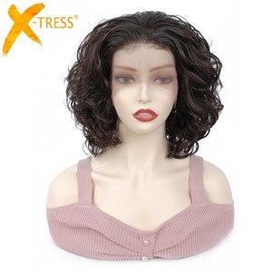 Image 1 - Perruque Lace Front Wig courte bouclée crépue, perruque frontale à dentelle synthétique, coiffure africaine, couleur marron ombré, X TRESS pour femmes noires