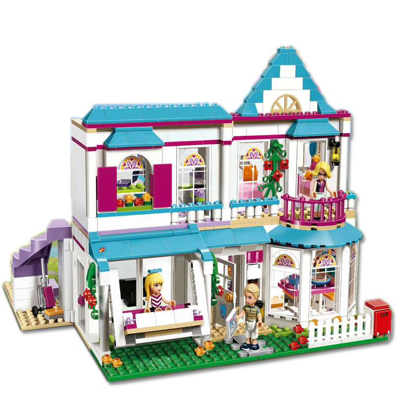 28 Style Compatible Legoinglys Friends Stephanie's House Building Blocks Princess Castle Girls Belle Ariel Elsa Bricks Toys Girl