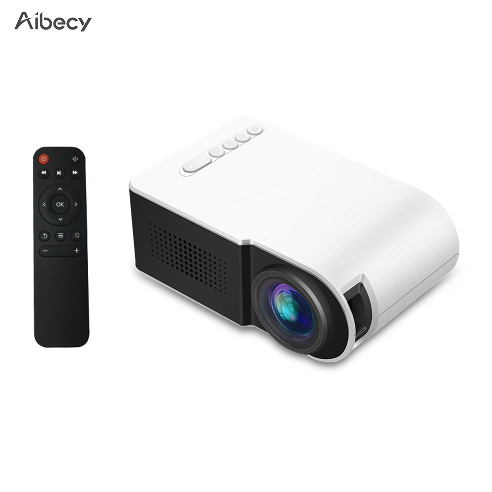 AibecyYG210 Mini LED Projector 1080P 600 Lumens Portable Multimedia Home Theater Video Projector Built-in Speaker Remote Control