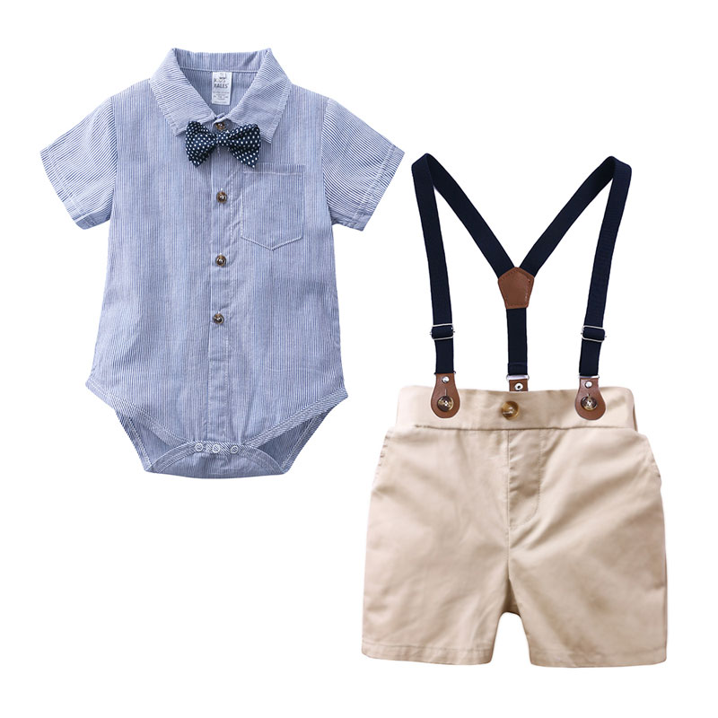Elvesnest Children Boys Clothes Set Formal Toddler Boy Clothing Short Sleeve Bow Tie Tops+Suspenders Pants Kids Clothes 1-3Years