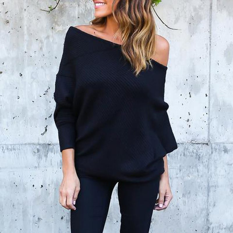 Black Knitted Sweater Off Shoulder Long Sleeve Loose Solid Casual Top 2019 Winter New Pullovers Plus Size XL White Grey Red