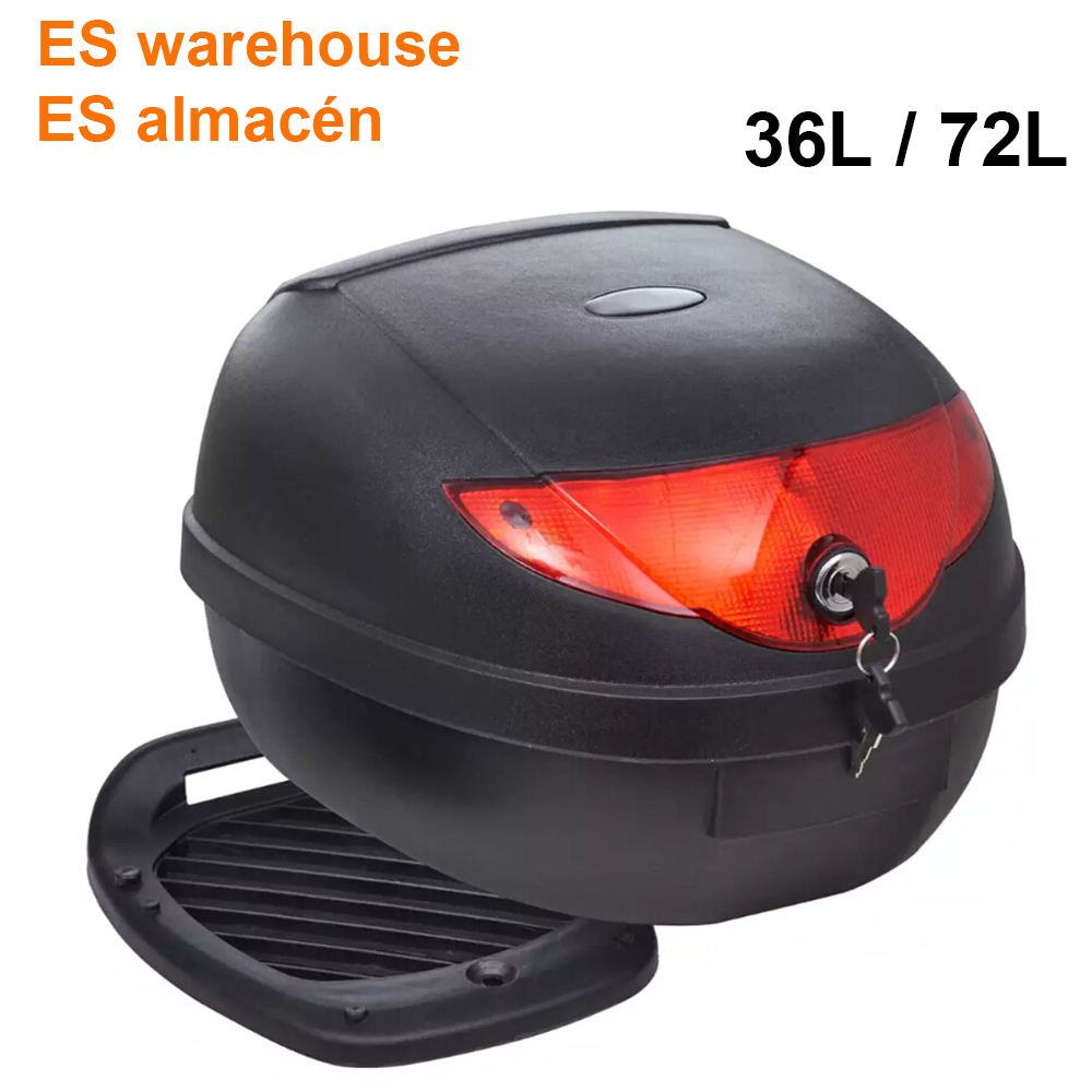ES Warehouse 36L 72L Motorcycle Trunk Waterproof Motor Top Case For Single Helmet Motorbike Rear Storage Luggage Tool Box Black