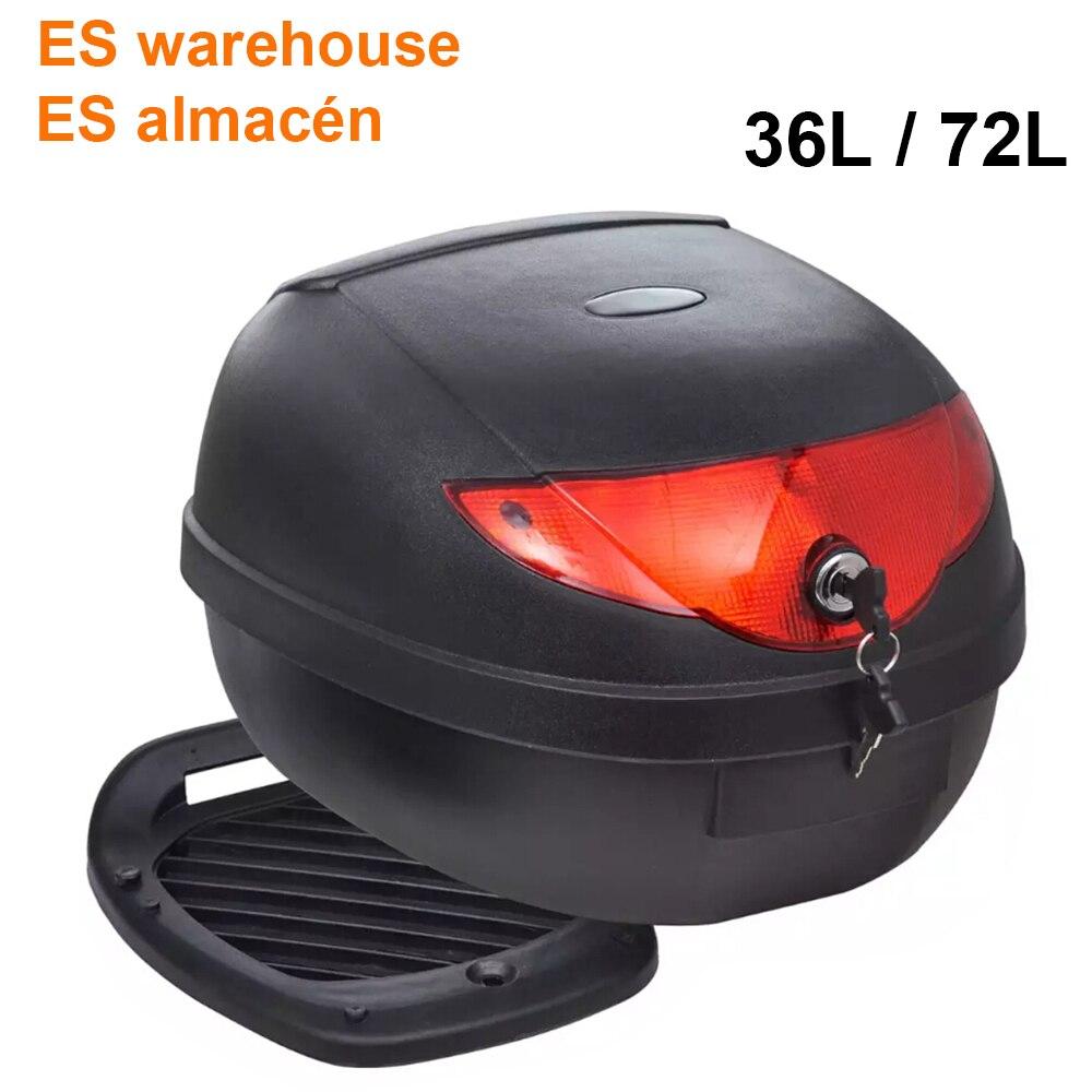 ES Warehouse 36L 72L Motorcycle Trunk Waterproof Motor Top Case For Single Helmet Motorbike Rear Storage Luggage Tool Box Black