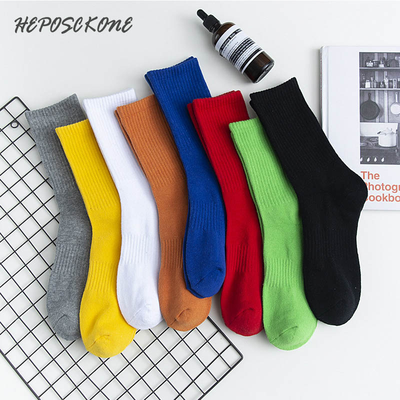 Simple Harajuku Cool Pure Cotton Casual Happy Funny Crew Socks Color Novelty Hip Hop Tide Calcetines Hombre Sox For Men's Gifts