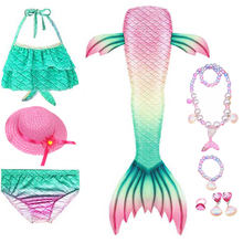 Children Cosplay Dress Mermaid Tail For Swimming Swimwear With Bikini Suit Necklace Beach Wear Hat Girls Halloween Costume