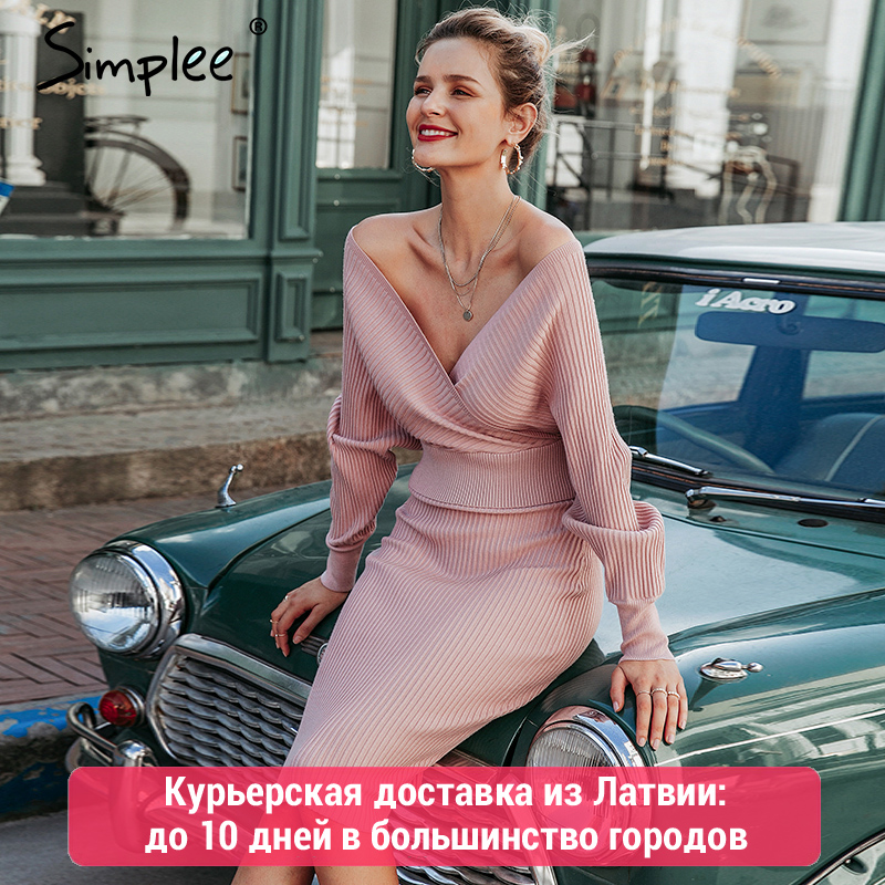 Simplee Sexy v-neck women knitted skirt suits Autumn winter batwing sleeve 2 pieces Elegant party female sweater pink dress