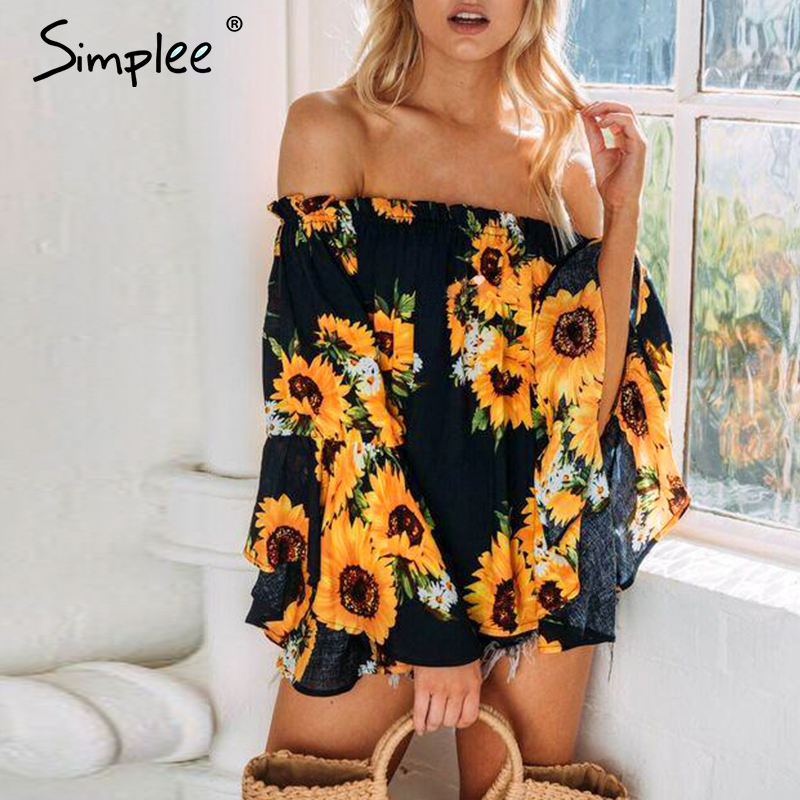 Simplee Off Shoulder Floral Print Blouse Women Flare Sleeve Bohemian Beach Blouse Shirt Casual Blusas Summer Tops Tees 2019