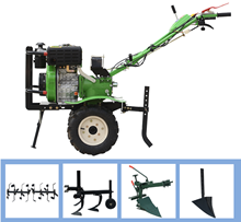 Multifunctional micro tillage machine tiller 188 diesel electric starter + rubber wheel + iron wheel + rotary tiller + trenching diesel generator accessories km 170f pull chain disk boot disk kde2200 tiller starter plate