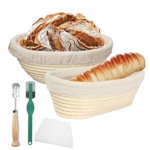 Round /Oval Rattan Cesta de Pão de Fermentação Natural Massa Prova Provando Cestas de Vime Rattan Rattan Banneton Dough Ferramenta DIY