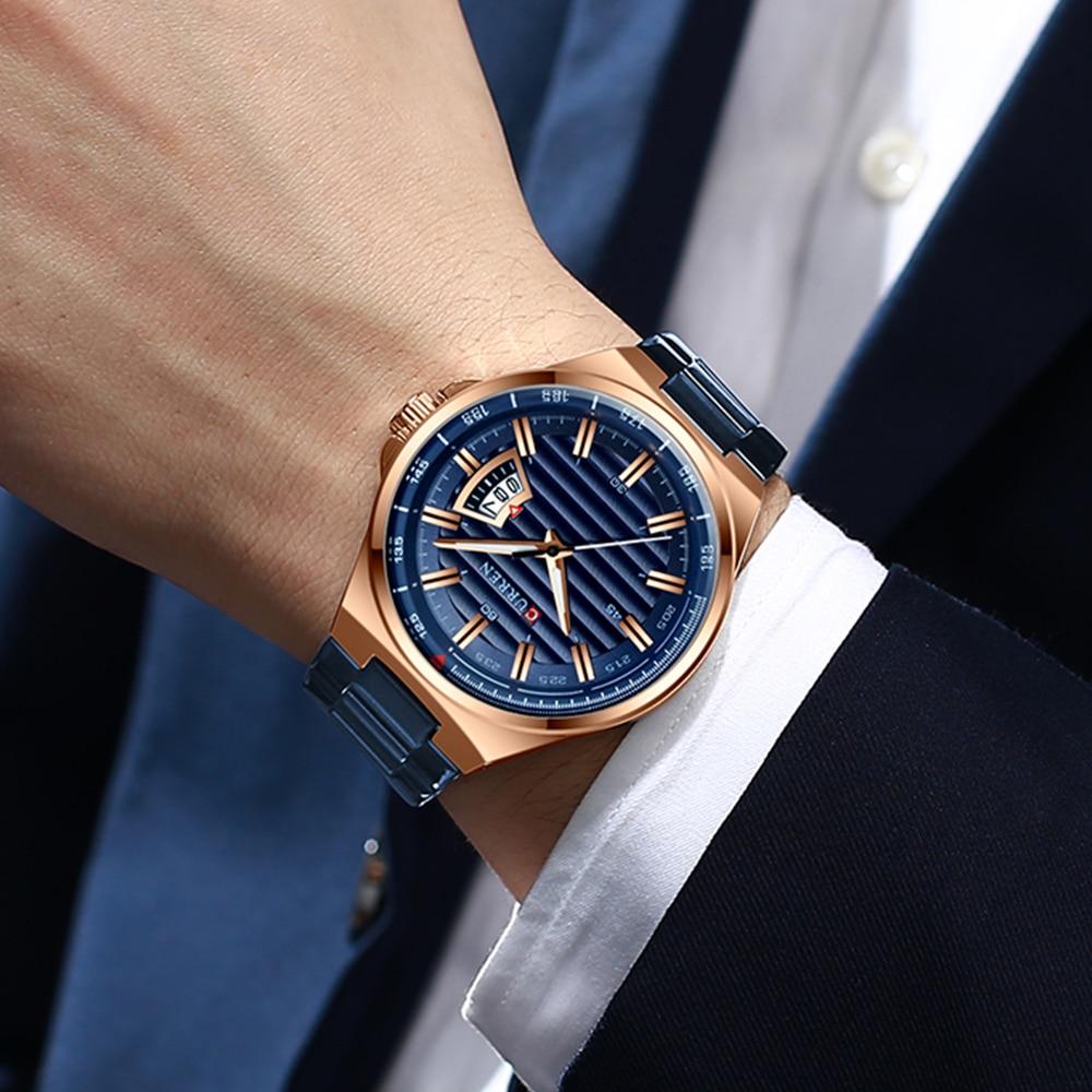 Image 2 - CURREN Brand Men Watches Luxury business Quartz wristwatches Fashion Mens Stainless Steel Band Auto Date clock RelojesQuartz Watches   -