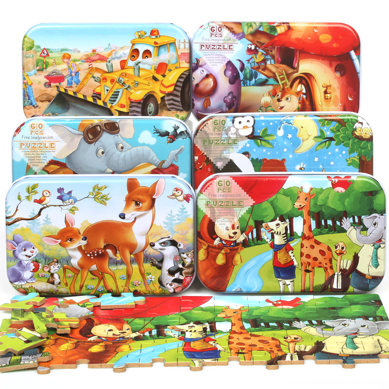 60 Pieces Wooden Puzzle Toys With Iron Box Kids Cartoon Animal Wood Puzzles Educational Toys For Children Christmas Gift For Kid