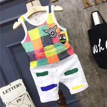 Summer Baby Boys Mesh hollow out Vest Top Shorts Pants Set Clothes Kids Cute 2PCS Children boys Clothing Sets 2-7years