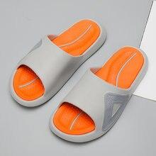 Мужские модные серые оранжевые летние тапочки мужские домашние