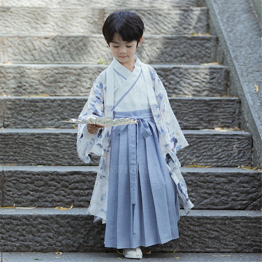 Ensemble Kimono japonais traditionnel pour enfants, Costume de Cosplay de samouraï Oriental, Yukata antique, vêtements de spectacle pour garçons | AliExpress