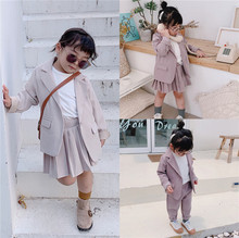 Baby Girl Casual Blazer Jackets Sets 2019 Autumn New Toddler Outfits Kids Girls Long Sleeve Blazer Coat+skirt/pants Suits 2 7Y