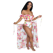 Women Summer Floral Print Beach Swimsuit Three Piece Set Matching Set Bikinis Set(China)
