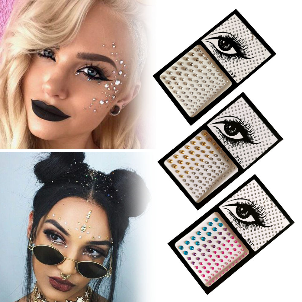 3D Single Grain With Glue DIY Eye Crystal Sticker Music Festival Trendy Shiny Acrylic Face Adhesive Acrylic Drill Tattoo Sticker