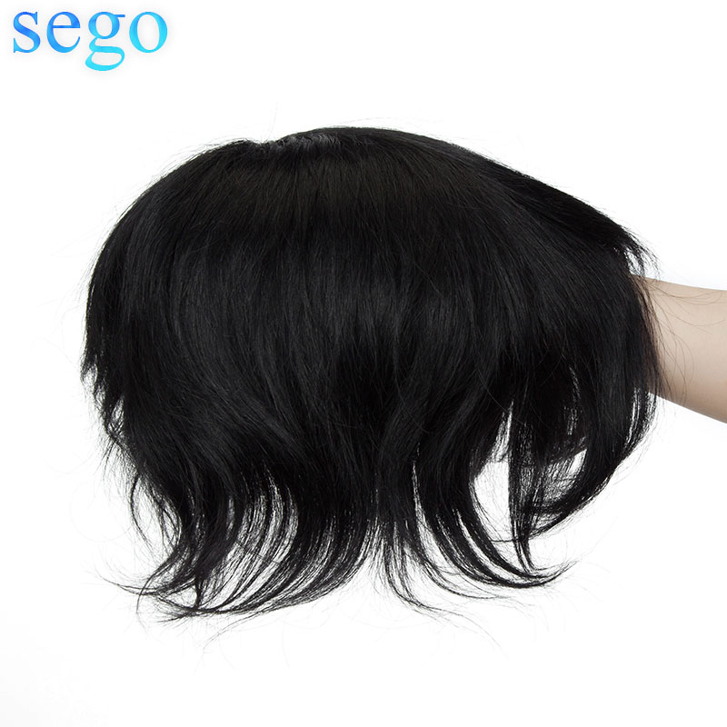 SEGO Straight 0.08mm PU 6 Inch Men Toupees Durable Hairpieces Indian Hair Non-Remy Real Human Hair Density 120% 1 Piece 70g/pcs