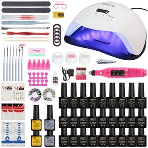 Image 1 - Nail Set 84W LED Lamp For Manicure 27/18/10 pcs Gel Nail Polish Set Kit Soak Off Gel Varnish For Nail Art Set Dryer Machine Tool