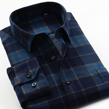 Mens Thick Plaid Shirt 2020 New Classic Style Fashion Casual Loose Long Sleeved Sanded Shirt Male Large Size 7XL 8XL 9XL 10XL