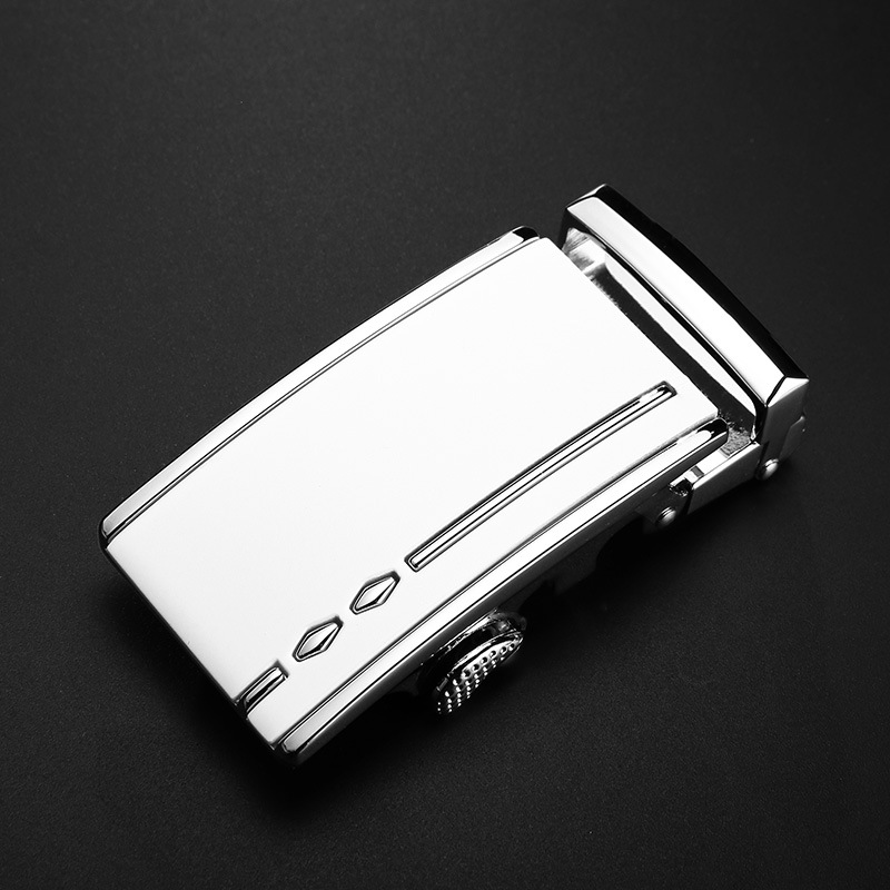 New Fashion Men's Business Alloy Automatic Buckle Unique Men Plaque Belt Buckles For 3.3cm Ratchet Men Apparel Accessories White