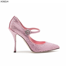 Italian Wedding Mary Jane Shoes Women Pumps 2019 Luxury Brand Designer Pink High Heels Ladies Party Rhinestone Shoes Woman creativesugar see through lace mary jane vintage style med low heels bridal wedding party prom black white ivory pink shoes