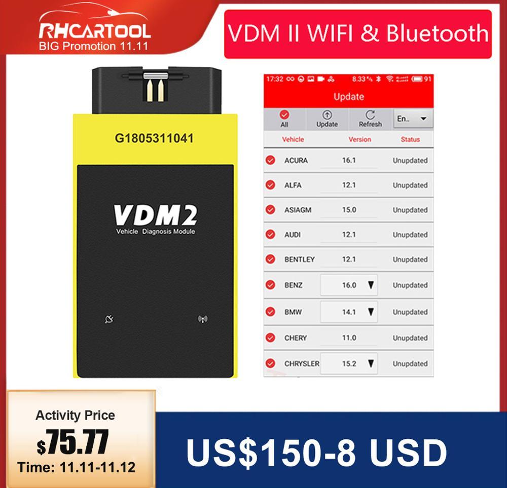 OBD2 UCANDAS VDM2 Full system V5 2 Bluetooth Wifi OBD2  VDM II for Android VDM 2 OBDII Code Scanner PK easydiag Update free
