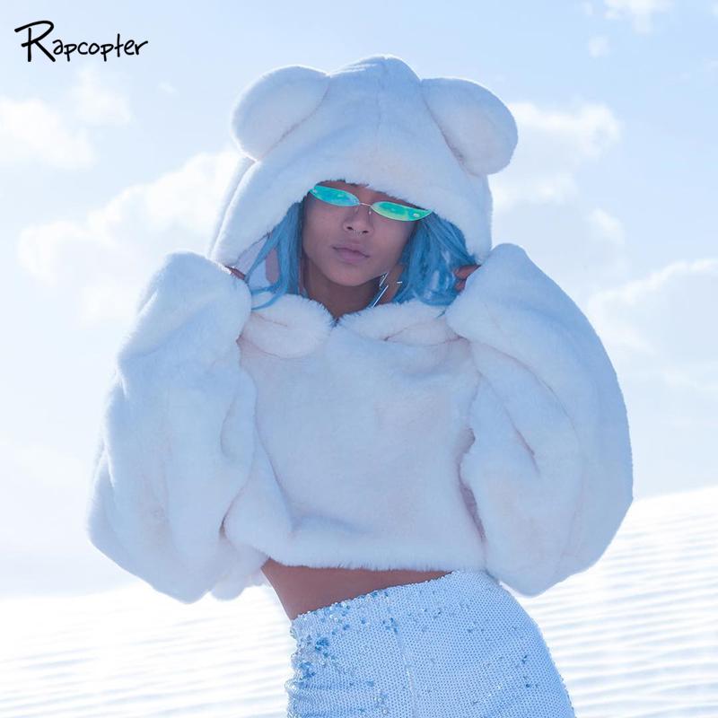 Rapcopter 2019 Long Sleeve Hooded Faux Lambswool Sweatshirt Autumn Winter Women Cute Hoodies Outfits Streetwear White Solid Tops