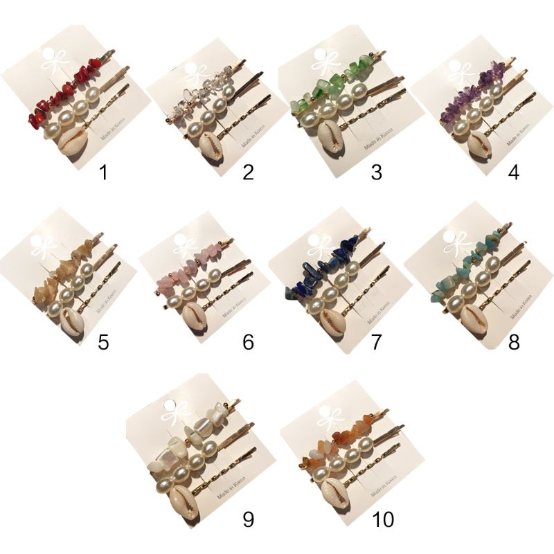 3Pcs/Set Baroque Ocean Style Women Hair Clip Candy Color Irregular Resin Stone Hairpin Seashell Faux Pearl Beaded Hair Accessory