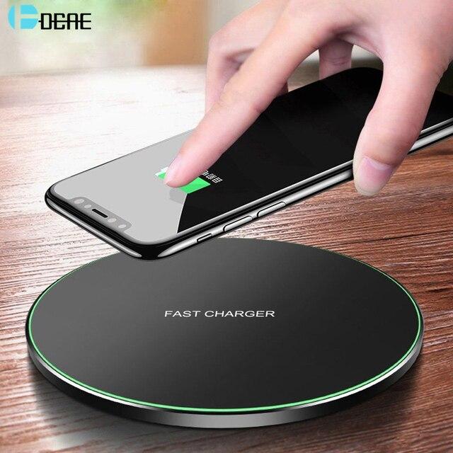 DCAE צ י אלחוטי מטען עבור iPhone 11 פרו 8 X XR XS מקס QC 3.0 10W מהיר אלחוטי טעינה עבור Samsung S10 S9 S8 USB מטען Pad