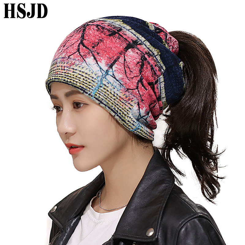 Female Cotton Hip Hop Hat Multifunction Print Scarf Dual-Use Caps Punk Style Women's Ponytail Beanies Hats Warm Bonnet Dance Cap
