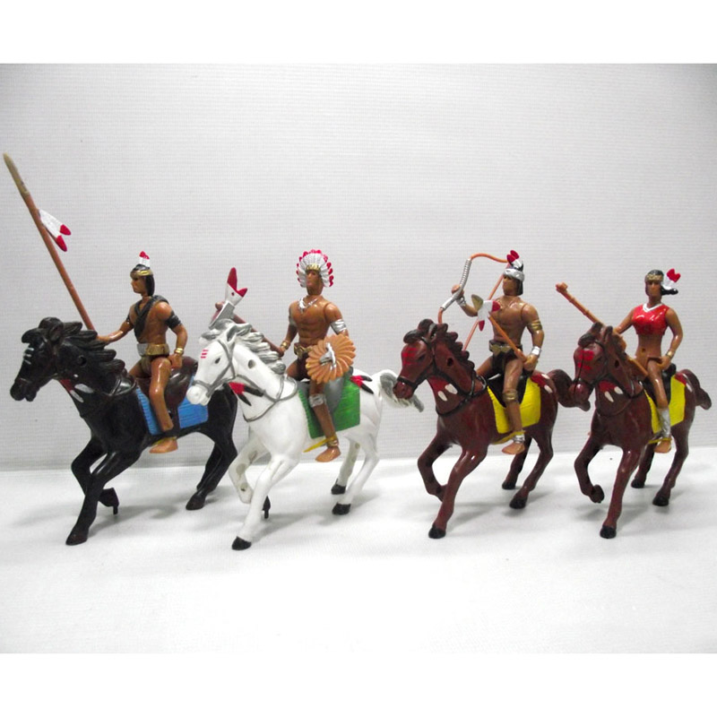 4bags/lot Indian Wild West Cowboy Country Life Cow Boy With Horse Tree PVC Anime Figure Christmas Decoration Model Toy