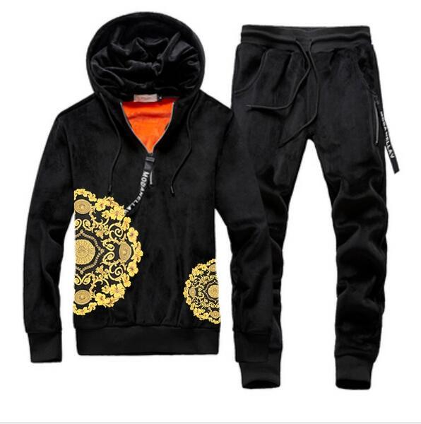 Men Velour Velvet Full Hoodies Gym TrackSuit Sport Sweats Jacket Coat Bottom Top Suit Trousers Pants Track Suit Outfit Flower