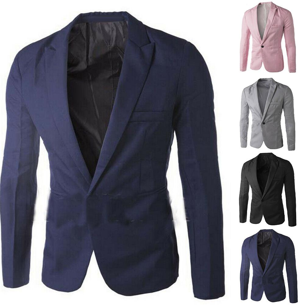 Men Solid Color Long Sleeve Lapel One Button Pocket Blazer Slim Fit Suit Coat New Chic