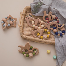 1PC Baby Wooden Teething Bracelet Star Bird Wooden Rodent Pendant Ring Gym BPA Free Montessori Beads For Kids Goods Natural Toys