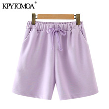 Short-Pants Drawstring KPYTOMOA Waist-Pockets Female High-Elastic Straight Fashion Women