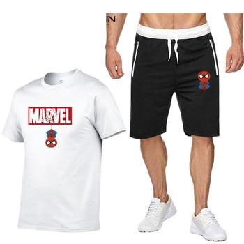 цена High quality Spiderman print Tracksuit Clothing Sets Cotton Sport Suit Coat + Pant + Tshirt Spider Man Superhero Cosplay Costume онлайн в 2017 году