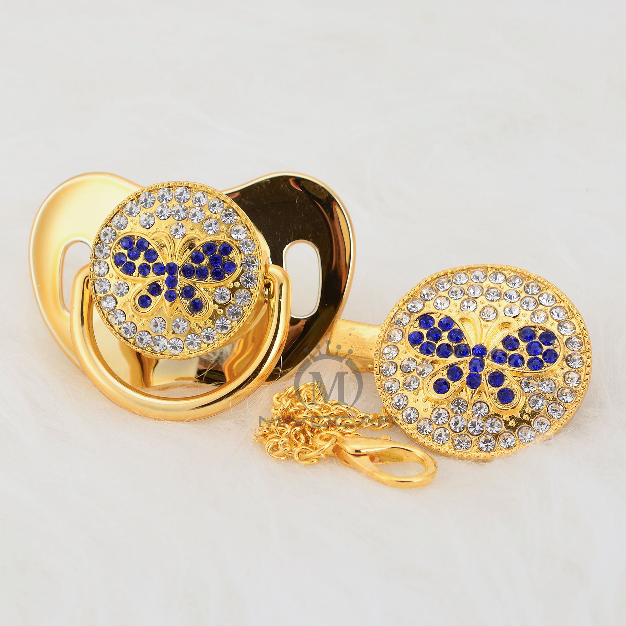 miyocar bling borboleta azul chupeta e clipe set cadeia chupeta chupeta titular bling borboleta projeto original