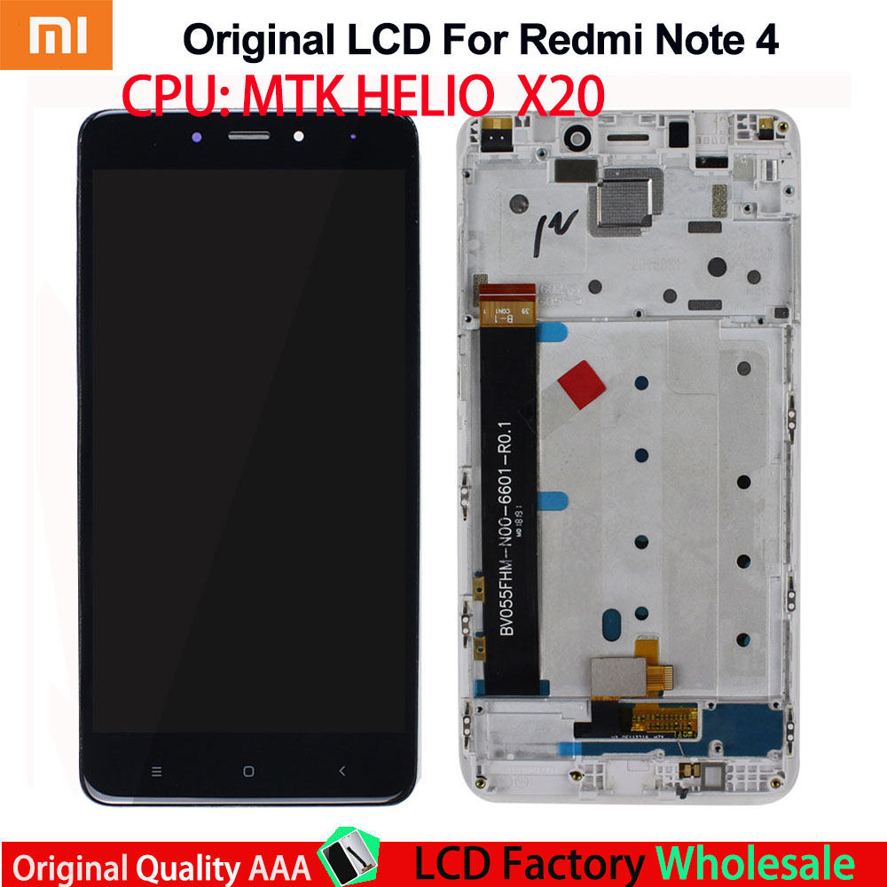 AAA original for Xiaomi <font><b>Redmi</b></font> <font><b>Note</b></font> <font><b>4</b></font> LCD Touch Digitizer <font><b>Redmi</b></font> <font><b>Note</b></font> <font><b>4</b></font> LCD Display <font><b>Screen</b></font> and Digitizer Full Assembly <font><b>with</b></font> <font><b>Frame</b></font> image