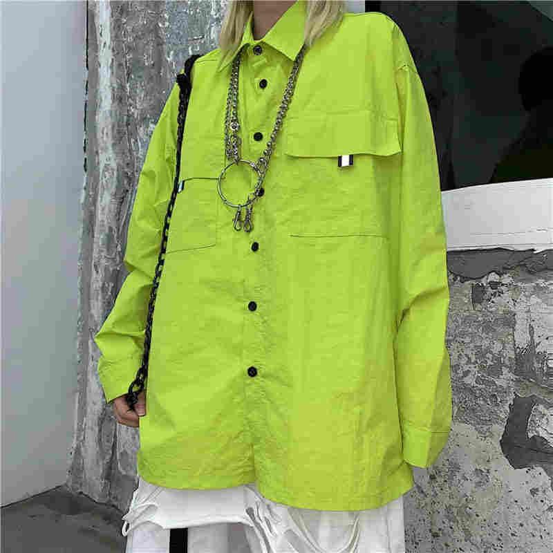 NiceMix High Quality New Fashion Corduroy Jacket Women Long Sleeve Turn Down Collar Fluorescent Yellow Coat Female Loose Long