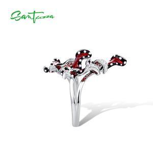 Image 3 - SANTUZZA srebrny pierścień dla kobiet oryginalna 100% 925 Sterling srebrny czerwony motyle Trendy biżuteria Handmade emalia
