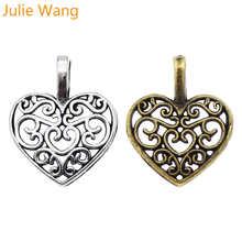 Julie Wang 100 шт антикварная серебряная/бронзовая подвеска-Шарм Имитация мини полый кулон в форме сердца ювелирные изделия браслет аксессуары 16*15*2 мм