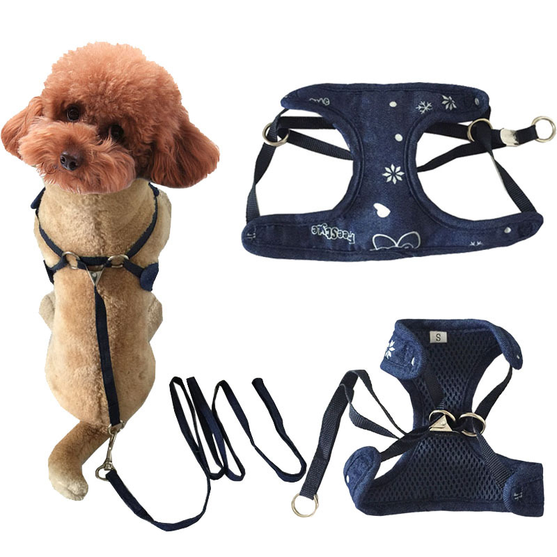 New Style Printed Cowboy Chest And Back Puppy Haulage Rope Package Pet Dog Chest And Back Nursing Dog Chain