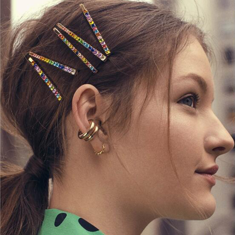 3 Pcs Rainbow Colorful Hairpins Crystal Rhinestone Hair Clip Barrette For Women Girls Holiday Style Barrettes Hair Accessories