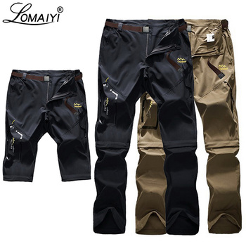 LOMAIYI S-6XL Stretch męskie spodnie na lato mężczyźni Ultra cienkie odpinane spodnie męskie spodnie cargo męskie Khaki szare czarne spodnie AM051 tanie i dobre opinie Cargo pants Pełnej długości Plisowana REGULAR Poliester spandex Lekki Suknem Fałszywe zamki Na co dzień Zipper fly